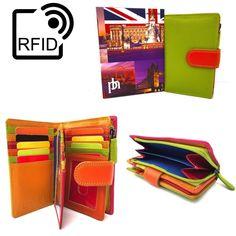 Prime Hide RFID BLOCKING NEW UK London Green Multi Coloured Leather Purse 6080