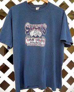 OLD NAVY SLICK'S HAIR TONIC Graphic T Shirt Men's Size L Short Sleeve Denim Blue #OldNavy #GraphicTee