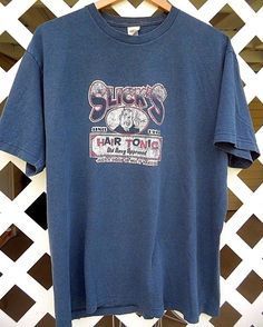OLD NAVY SLICK'S HAIR TONIC Graphic T Shirt Men's Size L Short Sleeve Denim Blue #OldNavy #GraphicTee