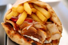 Learn how to make and prepare the recipe for Greek-style gyros with fried fish. Greek Fish Recipe, Greek Recipes, Fish Recipes, Seafood Recipes, Vegetarian Recipes, Dinner Recipes, Seafood Dishes, Fish And Seafood