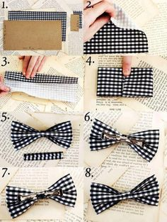 DIY: bow tie yes! i am going to have SO many bows now! Make A Bow Tie, Clip On Bow Ties, How To Make Bows, Tie Clips, Bow Bow, Diy Bow Ties, Sewing Crafts, Sewing Projects, Craft Projects
