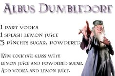 We could have a Harry Potter drinking game! Bar Drinks, Cocktail Drinks, Yummy Drinks, Alcoholic Drinks, Beverages, Harry Potter Cocktails, Harry Potter Food, Lemon Shots, Sherbet Lemon