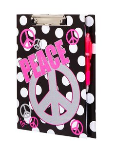Polka Dot Peace Clipboard Folder With Notepad   Journals  Writing   Room, Tech  Toys   Shop Justice