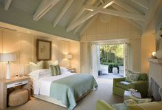 Love this tranquil bedroom from Huka Lodge