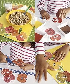 Apple halves make perfect stamps! Let kids decorate their spot at the table with this fun fall place mat #craft. http://www.parents.com/fun/arts-crafts/kid/autumn-place-mats/?socsrc=pmmpin101212cAutumnPlaceMats