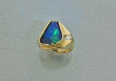 """""""Architectural"""" black opal and diamond ring by Glenn Dizon Designs"""