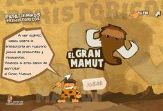 """""""El Gran Mamut"""" es un juego de preguntas y respuestas, muy completo, sobre la Prehistoria. Se puede jugar al final de 4º nivel de Educación Primaria, ya que forma parte de su currículo, pero también en niveles superiores para mostrar un conocimiento básico de la Prehistoria para abordar el aprendizaje de periodos posteriores."""