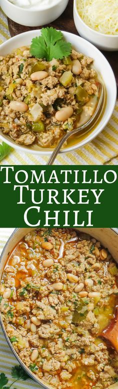 If you want a white bean chili recipe, this Tomatillo Turkey Chili is has green chiles, canned beans and ground turkey. It's super easy to make and perfect game for game day snacking! recipe soul food no meat Tomatillo Turkey Chili Tomatillo Recipes, Chili Recipes, Mexican Food Recipes, Soup Recipes, Dinner Recipes, Cooking Recipes, Healthy Recipes, Slow Cooking, Muffin Recipes