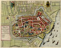 Old, antique map - Bird's-eye plan of Tiel by J. Blaeu, 1649