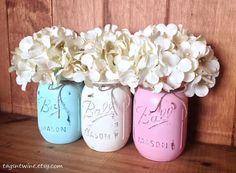 Three Pint Mason Jars  Rustic Farmhouse Decor  Baby by TagsnTwine