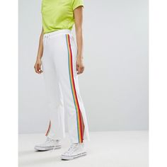Daisy Street Wide Leg Track Pants With Neon Sports Stripe ($38) ❤ liked on Polyvore featuring activewear, activewear pants, tall activewear, sports track pants, neon activewear, sports activewear and tall track pants