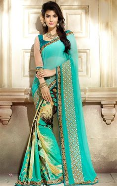 Tangerine Sea Green Georgette Printed Saree