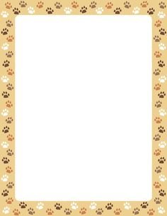 A page border featuring cat paw prints on a tan background. Free downloads at http://pageborders.org/download/cat-paw-print-border/