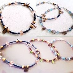 Lots of layered gemstone bracelets. They look so pretty worn on their own, or wear many of them together to create your own layered look, delicate, sweet, minimal style ✨
