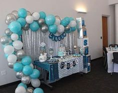 LAttLiv Balloons 56 Pcs Baby Shower Boy Balloons Latex & Foil/Mylar Letters Balloons Baby Boys Birthday Balloons Party Decoration for Baby Shower Birthday Baptism Christening- Silver & Ivory & Turquoise Baby Shower Azul, Fotos Baby Shower, Baby Shower Photos, Baby Shower Balloons, Birthday Balloons, Baby Boy Shower, Baby Showers, Baby Shower Photo Booth, Baby Shower Decorations For Boys