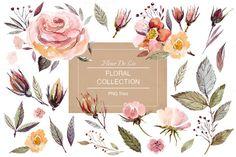 @newkoko2020 Watercolor Floral Collection by MoleskoStudio on @creativemarket #feminine #watercolor #female #branding #brand #style #women