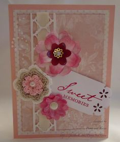 Sweet memories and sweet embellishments. This card is suitable for almost any occasion. This exquisite card is embellished with handmade and crochet flowers with a background of pearls. Matching envelope will be provided at no extra cost. A6 folded portrait (105 mm x 148 mm). Price 1 pound 75 pence with NO charge for p.
