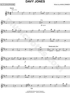 Print and download Davy Jones sheet music from Pirates of the Caribbean: Dead Man's Chest arranged for Alto Saxophone. Instrumental Solo in B Minor.