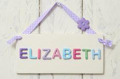 Personalised Girl's Bedroom Door Plaque - Purple & Pink £10.95