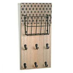 Boite à clés Accroche-Clés + Porte Courrier Géométrique Noir Accroche-Clés + Porte Courrier Géométrique Noir