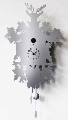 Cucu Clock – designer silver cuckoo clock by Pascal Tarabay
