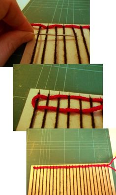 Things to Make and Do - Basic Weaving with a simple homemade loom Arts And Crafts Projects, Crafts For Kids, Diy Crafts, Weaving Looms, Diy Patches, Mosaic Crafts, Knitting Wool, Fine Motor, Fabric Crafts