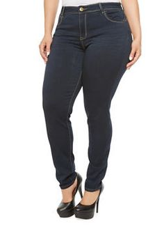Plus Size High Rise Skinny Jeans,DARK BLUE