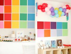 how simple is this decor? Just choose your fave colors of cardstock and bam! Would also make a fun backdrop for photo session