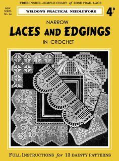 Crochet Edging Patterns Free, Crochet Lace Edging, Filet Crochet, Free Pattern, Knitting Patterns, Crochet Roses, Curtain Patterns, Vintage Patterns, Hand Knitting