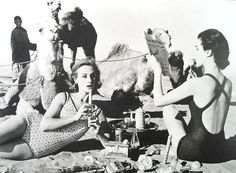 Tatiana, Mary Rose and Camels, Picnic, Morocco, 1958 | From a unique collection of figurative photography at http://www.1stdibs.com/art/photography/figurative-photography/