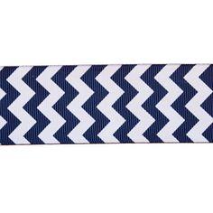 "1.5"" Chevron Pattern on Navy Ribbon by the yard"