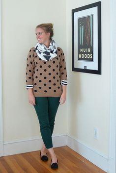 pattern mixing + green pants