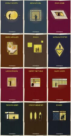 Creative artworks by illustrator Federico Babina of the Archiwindow poster series. Architecture Quotes, Architecture Graphics, Architecture Student, Concept Architecture, Amazing Architecture, Architecture Details, Poster Series, Famous Architects, Creative Artwork