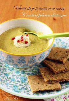 Velouté de pois cassés et crackers à la polenta et à la farine de châtaigne