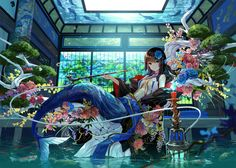 Great anime/ecchi pictures and arts. / The best jokes (comics and images) about anime pictures, rating - anime) Kawaii Anime Girl, Anime Art Girl, Manga Girl, Manga Anime, Anime Girls, Anime Mermaid, Mermaid Art, Fantasy World, Fantasy Art