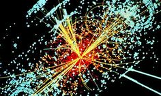 "Guardian: ""Higgs boson rumours fly as Cern prepares to announce latest results... A simulated collision between two protons in the CMS detector at Cern's LHC [Large Hadron Collider]."
