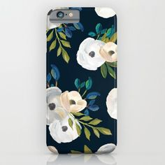 Midnight+Florals+-+Blue+&+Cream+iPhone+&+iPod+Case+by+Creative+Index+-+$35.00