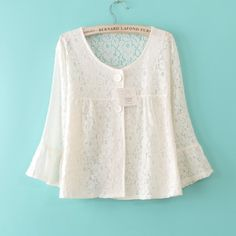 Sexy Crop Hollow out 3/4 Sleeve Lace Blouses