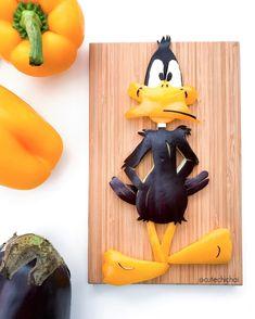 Daffy Duck. #daffydick #foodart #looneytunes