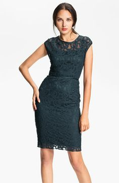 Adrianna Papell Lace & Mesh Sheath Dress | Nordstrom