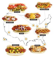 Hometown Hot Dogs- it is funny how I can look at the Cincinnati chili dog and think that is totally a normal way of eating a hotdog but the rest seem kind of crazy.