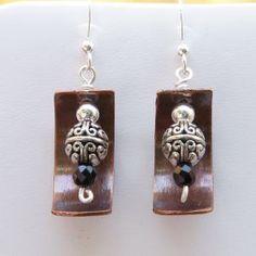 Repurposed Copper, Onyx Earrings