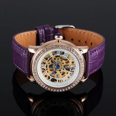 MA 146L CONSTELLATION Skeleton Face, Purple Leather, Mechanical Watch, Watch Brands, Constellations, Female Models, Watches For Men, Peace, Lady