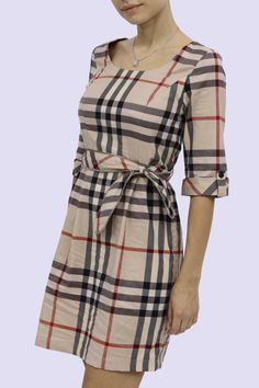 Burberry Plaid Three-Quarter Sleeves Dress With Waist Belt for Women Burberry Pattern, Burberry Plaid, Burberry Dress, Plaid Fashion, Womens Fashion, I Dress, Shirt Dress, Tartan Dress, Dresses For Work