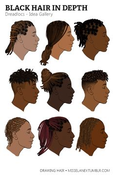"""misselaney: """"How to draw Dreadlocs! See Part One. misselaney: """"How to draw Dreadlocs! See Part One: Rendering Natural Black Hair Coming Up Next: VOTE by sending to my Ask box! Black Men Haircuts, Black Men Hairstyles, Curly Hairstyles, Female Hairstyles, Men's Hairstyle, Medium Hairstyles, Poses References, Black Characters, How To Draw Hair"""