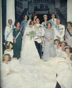 Royal Watcher-Wedding of King Constantine & Queen Anne-Marie of Greece;  Sitting: Princess Anne of Great Britain, Princess Christina of Sweden, Princess Irene of Greece, Princess Tatiana Radziwill, Princess Marguerite of Romana, Princess Clarissa of Hesse (cut off); 1st Row:  King Frederick IX and Queen Ingrid of Denmark; bride and groom; Queen Frederica, Queen Mother of Greece; King Gustaf VI Adolf of Sweden (bride's grandfather); Victoria, Duchess of Brunswick (groom's grandmother)
