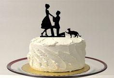 CAT  BRIDE & GROOM Silhouette Wedding Cake by CreativeButterflyXOX, $26.95