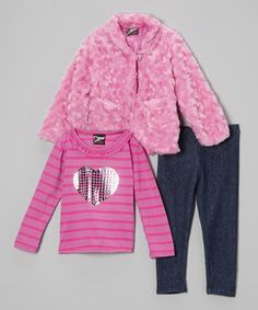 Take a look at this Fuchsia & Black Heart Faux Fur Jacket Set - Infant & Toddler by 2B Real on #zulily today!