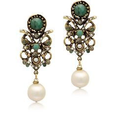 Alcozer & J Golden Brass, Glass Pearl and Emerald Earrings ($300) ❤ liked on Polyvore featuring jewelry, earrings, handcrafted earrings, handcrafted jewellery, pearl earrings, brass earrings and art nouveau earrings
