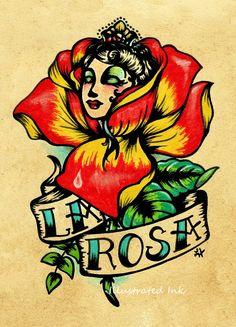 Old School Tattoo Rose Art LA ROSA Loteria Print 5 x 7. $10.50, via Etsy.